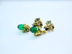 Green Beads Drop Earring