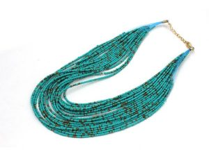 Choker Beads Necklace Blue