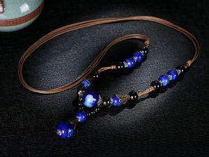 Blue Ceramic Pendant Necklace